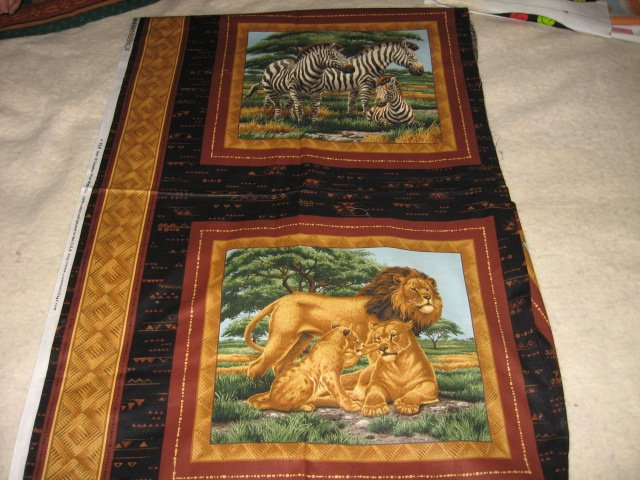 lion zebra jungle set of two pillow panels 16 inch by 14 inch