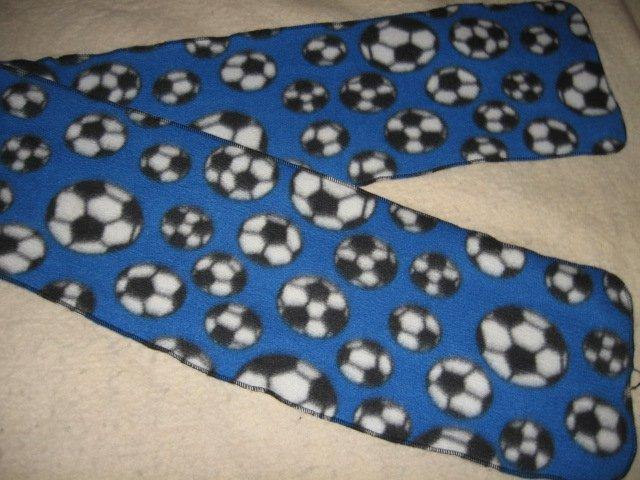 Soccer balls blue  Fleece scarf 60 in X 10 in wide