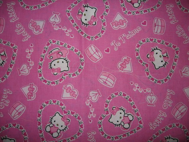 Hello Kitty valentine hearts pink cotton fabric  36 inch wide by 42 inch long