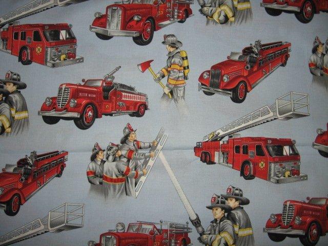 fire truck ladder equipment cotton fabric fat quarter  approx 18x21 inch