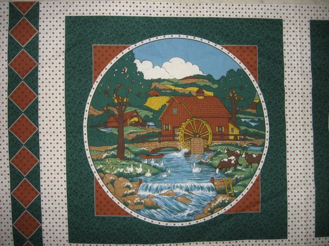 Country farm and Mill Scene set of two Pillow Panels Fabric to sew