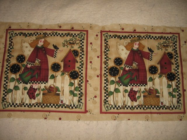 Little Girl Sewing Seeds Pillow Panel set of two Fabric to sew