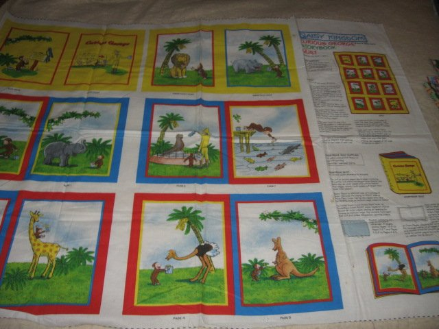 Curious George Rare Soft book 100% cotton fabric Panel To Sew/