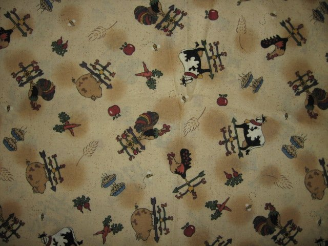 Country farm animals apples pies weather vanes Leslie Beck fabric by yard