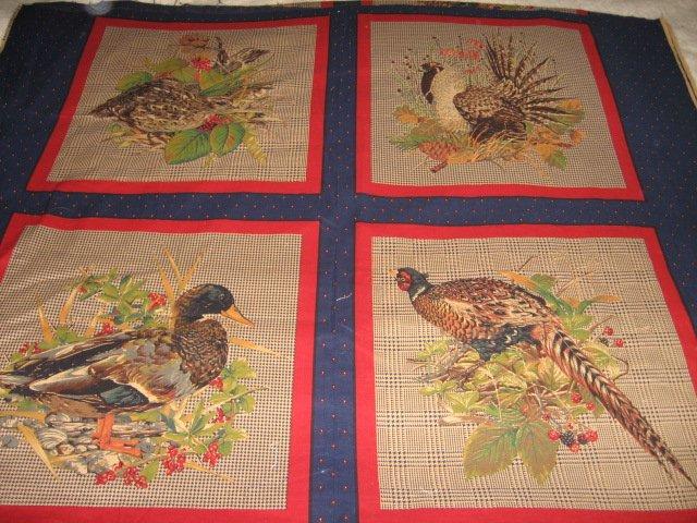 Birds  Pheasants  set of Four cotton Fabric pillow panels to sew