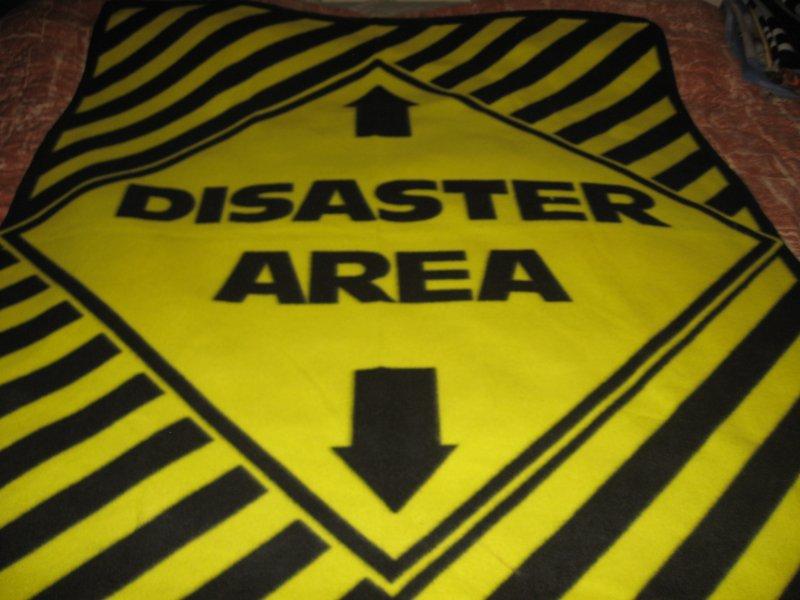 disaster area sign traffic control fleece blanket vintage