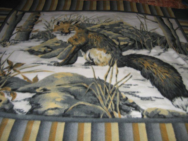 fox in winter snow large panel fleece blanket