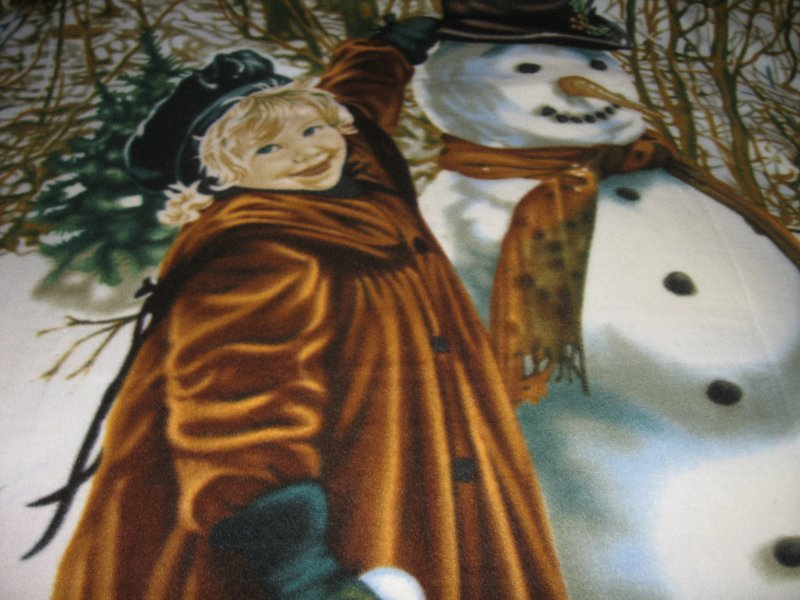 snowman girl bunny winter large fleece blanket