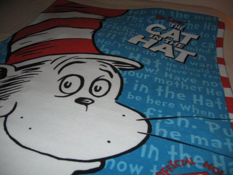 Dr Seuss cat in the hat fleece bed blanket 50 by 60 inch