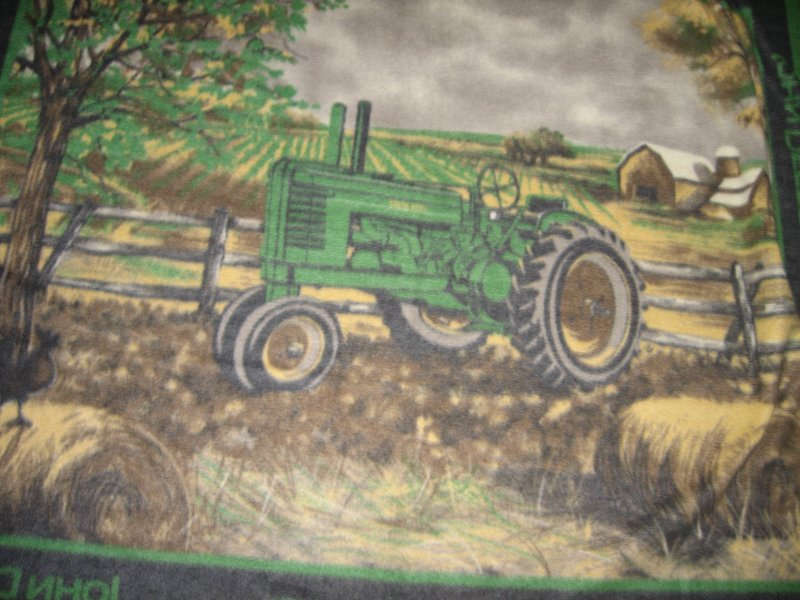 John Deere tractor in farm field fleece blanket striped border rare