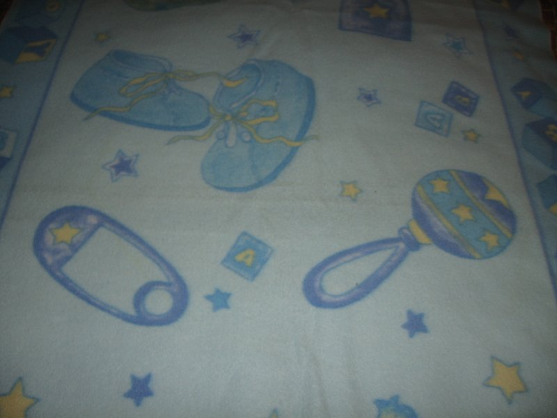 Baby bottle diaper pin blue fleece blanket