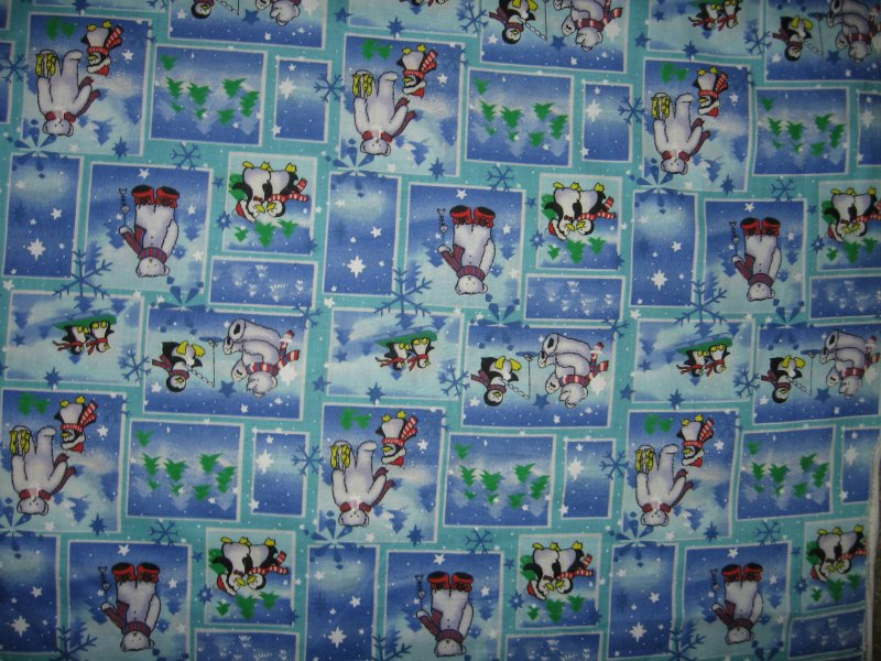 Christmas winter animals bear penguin fish soft cotton fabric by the yard