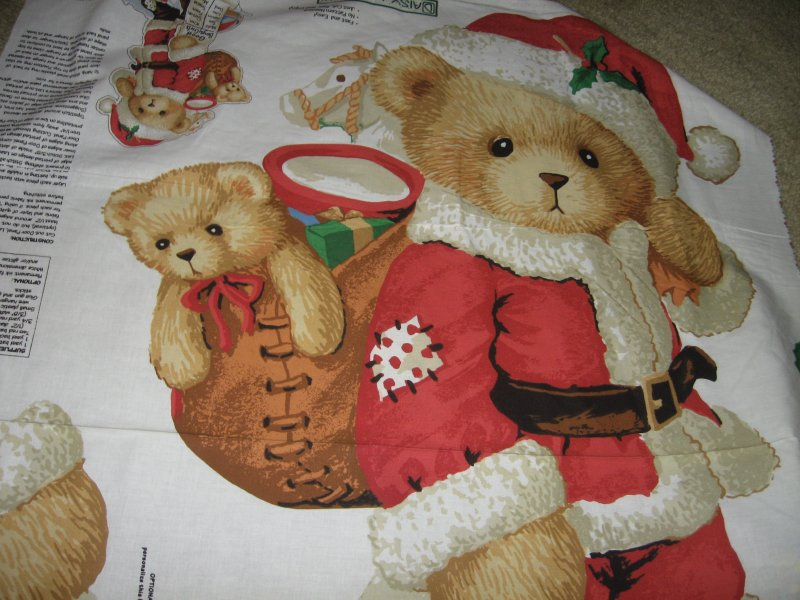 Christmas Teddy Santa Panel soft cotton fabric you sew
