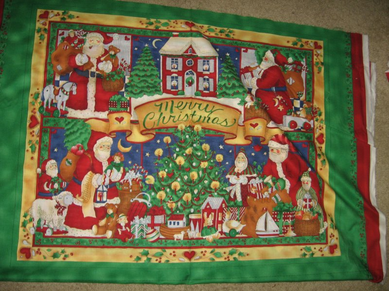 Christmas Night Before Santa Presents Door Panel soft cotton fabric you sew