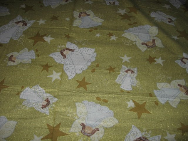 Christmas Angels gold glitter cotton fabric by the yard