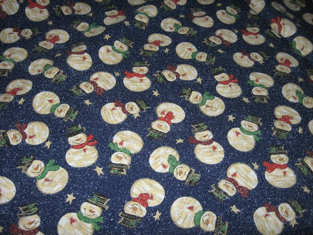 Christmas snowmen hats scarves blue cotton fabric by the yard