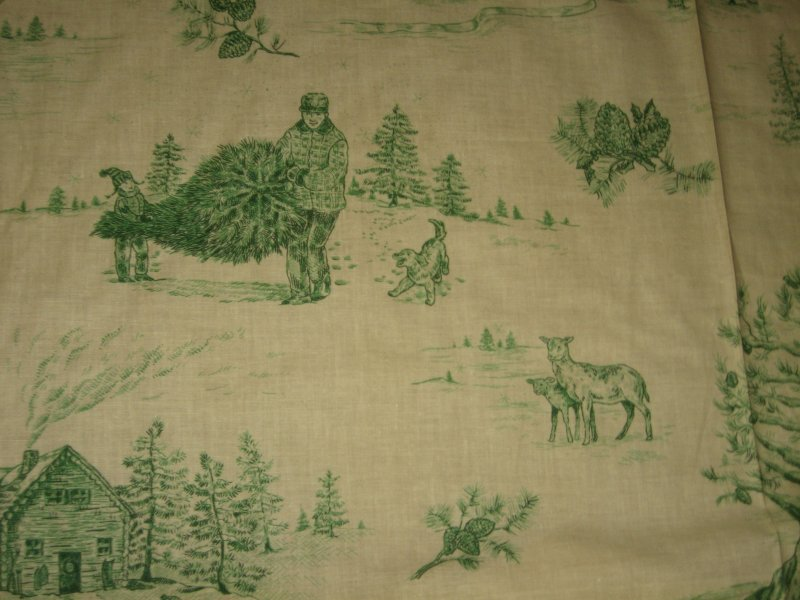 Christmas country home scene toile green country