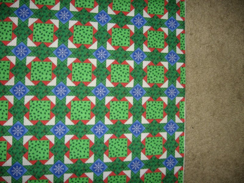 Christmas overall trees holly snowflakes cotton fabric by the yard