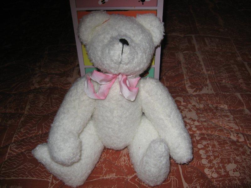 Bear jointed white black eyes 1996 Berkeley Designs 12 inch high