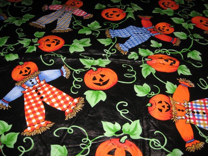 Halloween scarecrow pumpkin vinyl table cover