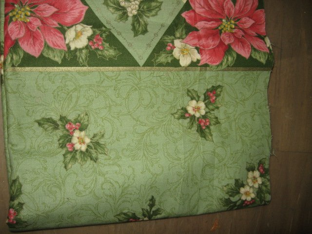 Holly poinsettia flowers green fabric two yard piece