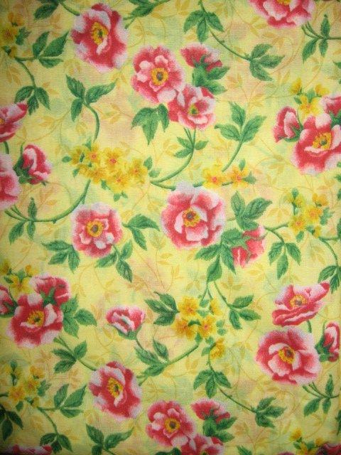 roses yellow cotton fabric yardage soft