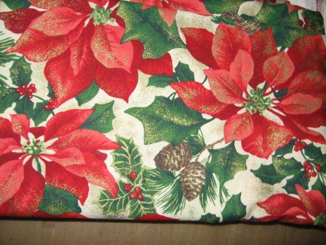 Christmas poinsettia gorgeous pine cone holly gold sparkle cotton fabric