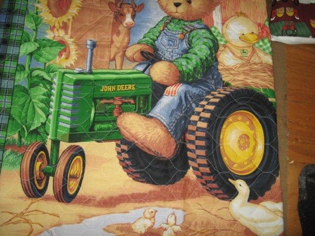 Bluejean teddy john deere tractor sunflower quilt 34 inch by 40 inch