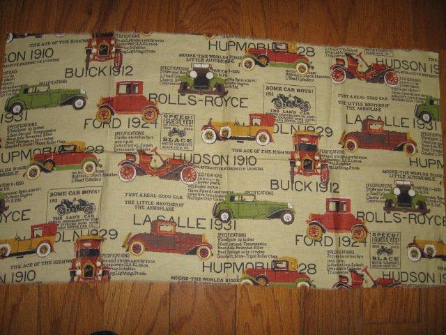 Vintage cars cotton fabric one yard piece rare