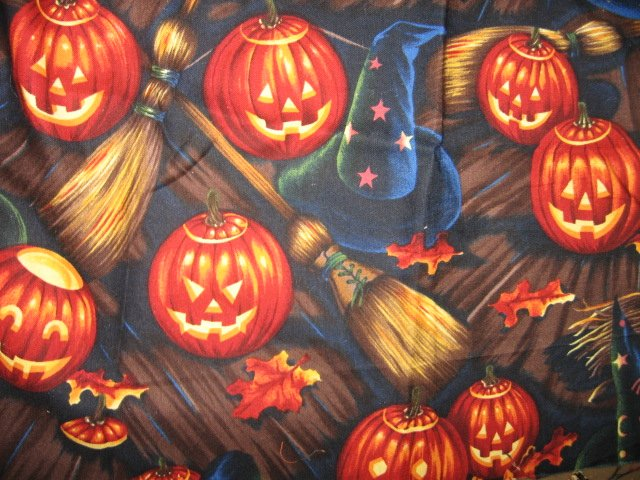 Halloween pumpkin brillient fabric broom witch hat Rare