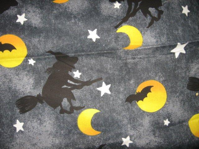 Halloween witch broom moon dark sky cotton fabric Rare
