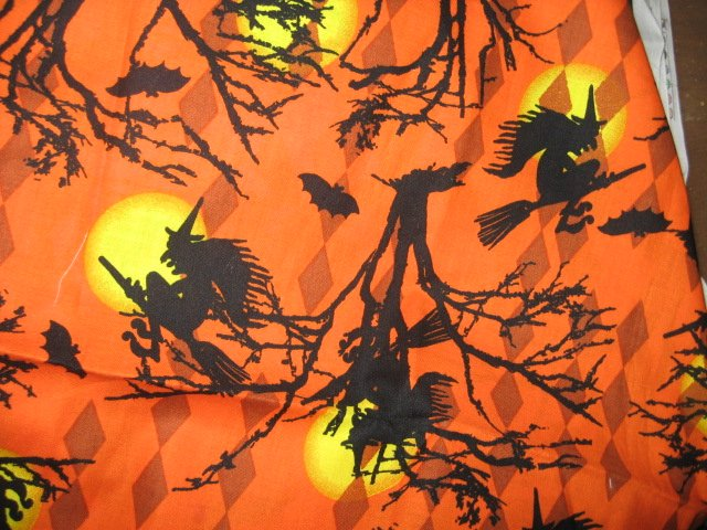 Halloween witch hat broom moon cotton fabric pumpkin orange color  Rare