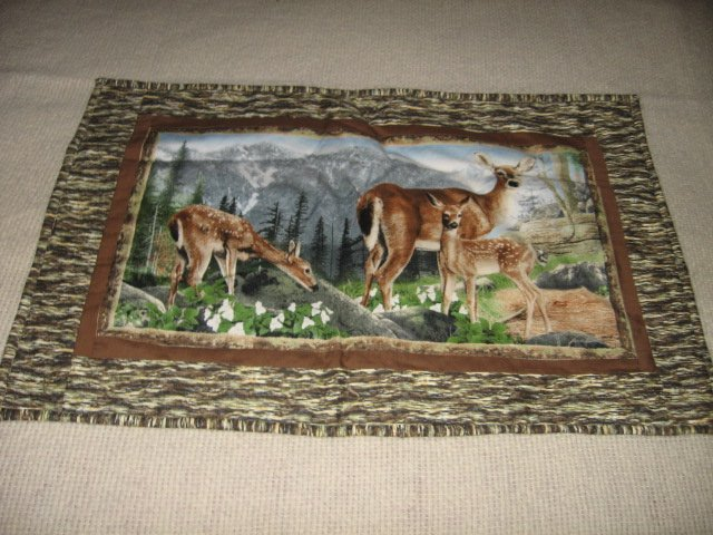Deer family forest setting padded wall panel 25 inch by 16