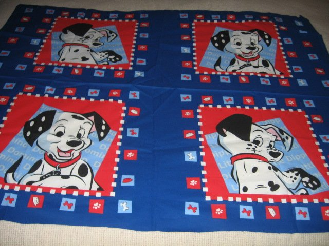 Disney Dalmatian Dogs Domino and Dipper Pillow panel fabric set of four to sew
