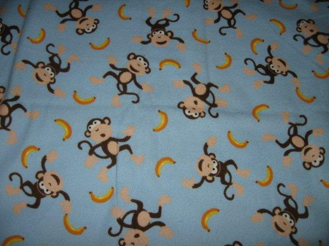 Monkeys bananas light blue Flannel  Blanket for boy