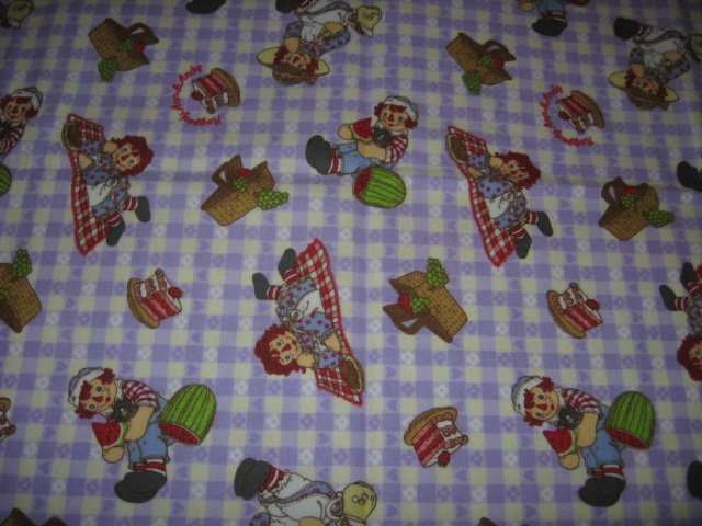 Raggedy Ann Andy Lilac Child Flannel Fabric Blanket 30 inch by 44 inches