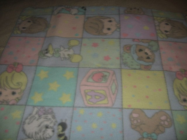 Boy Girl stork squares fleece child blanket