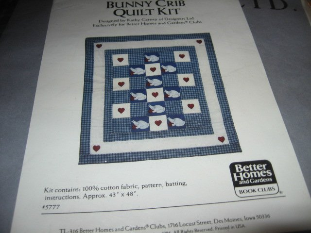 Bunny crib quilt kit 43 inch by 48 inches