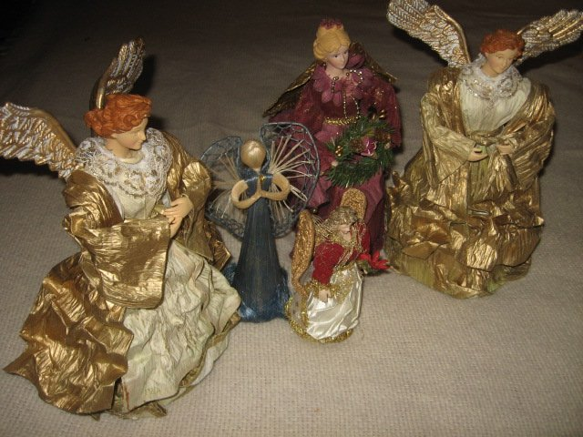 Christmas angels set of five gold maroon paper glitter