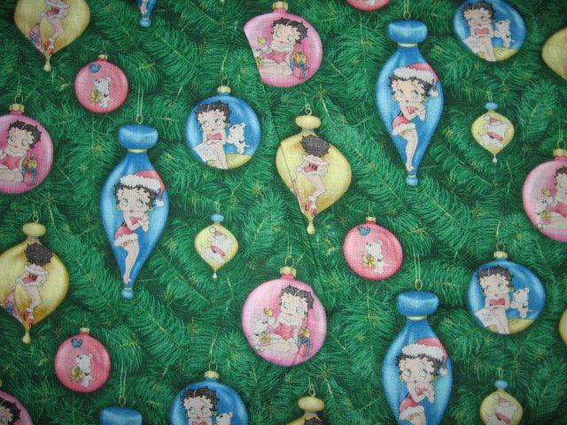 Betty Boop Christmas bulbs cotton fabric by the yard