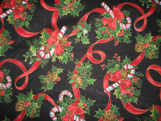 Candy Cane ribbon holly pine cone cotton last yard