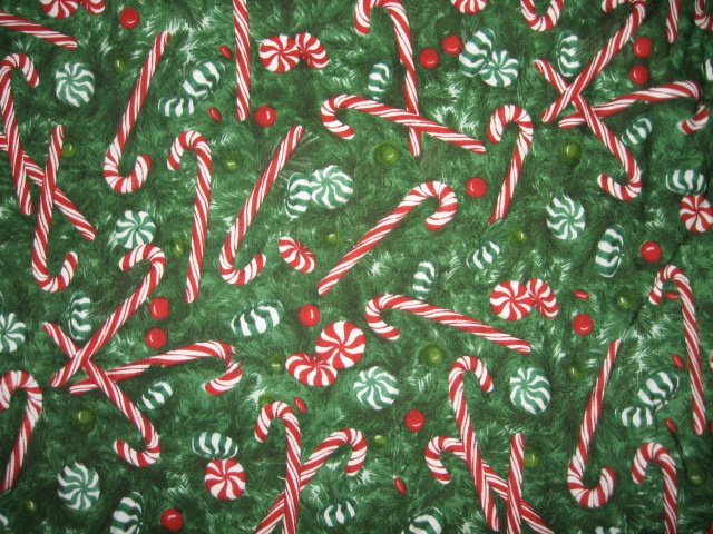 Candy Cane pine bough stripes green cotton fabric by the yard