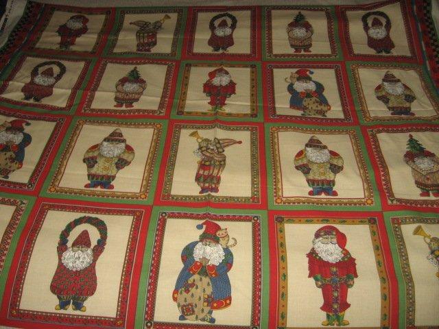Christmas Santa Gnomes fabric cotton by the yard