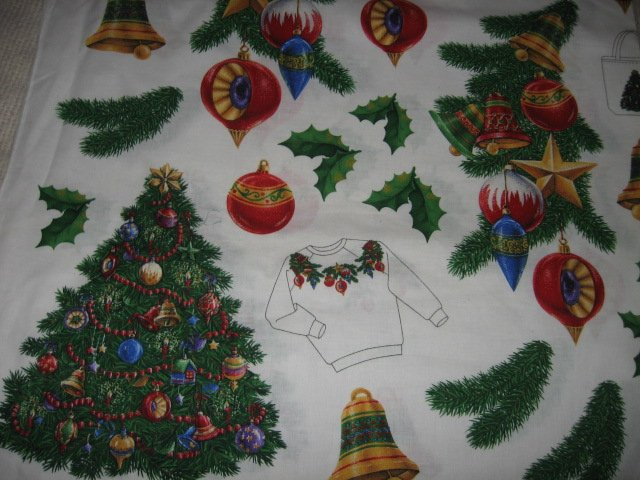 Christmas appliques bulbs bells holly cotton fabric by the yard