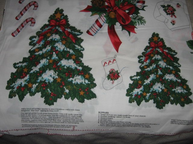 Appliques candycane pinecone holly bells Christmas cotton fabric two yard piece