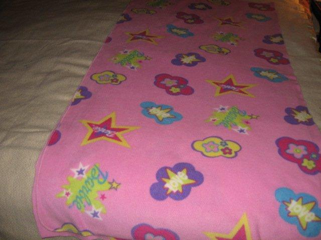 Stars pink flowers Barbie soft lightweight fleece blanket