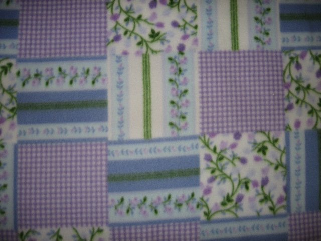 Flowers squares lilac fleece bed blanket 48 inch by 56 inches