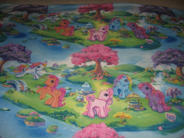 Pony rainbow gorgeous fleece whole large piece 58 s by 80 inches
