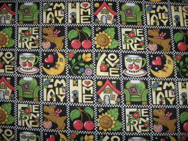 Mary Engelbreit family Home Friend Love Squares cotton fabric last yard