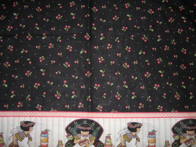 Mary Engelbreit cherries cotton fabric border print 55 inch by 58 inches